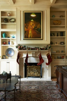 A view of the Brooks Family's festive fireplace